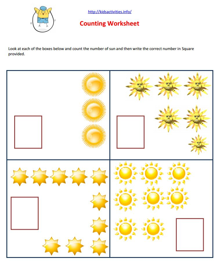 Study Worksheets count for little children – Pdf Worksheets for Kindergarten