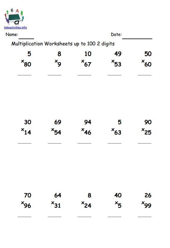 2 digit multiplication worksheet with answer – Two Digit by One Digit Multiplication Worksheet