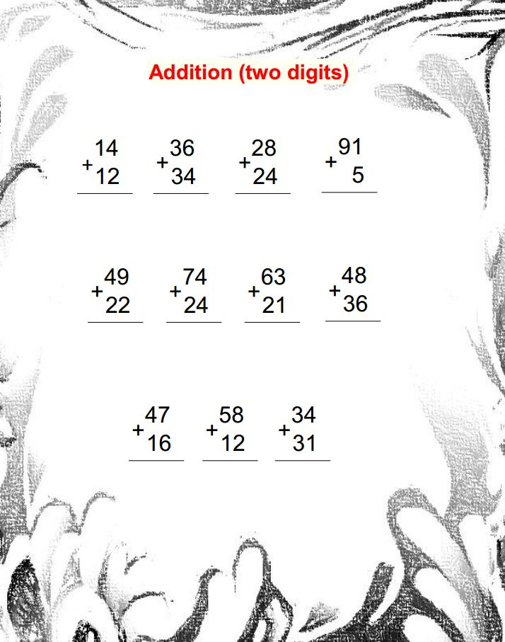 Two Digit Addition Worksheets – Math 2 Digit Addition Worksheets