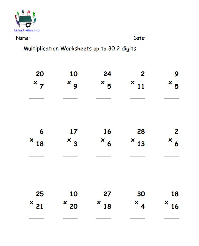 Printables Free Multiplication Worksheets Grade 4 multiplication math worksheet 4th grade kids activities 2 digit up to 30