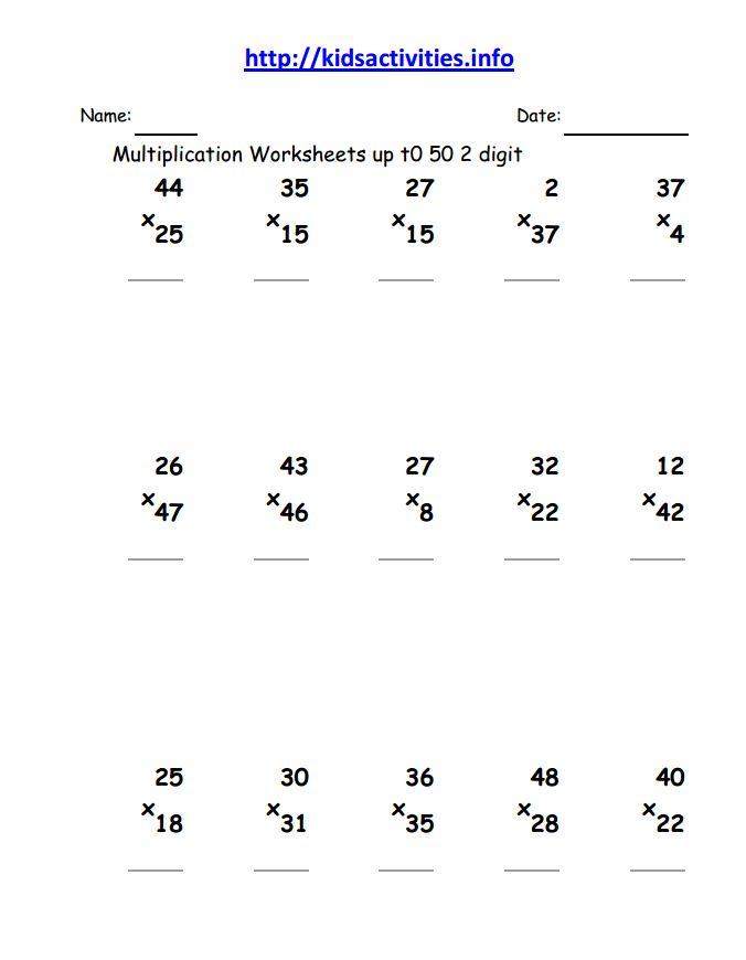 Multiplication Math Worksheet3rd Grade – Multiplication 2 Digit by 1 Digit Worksheet
