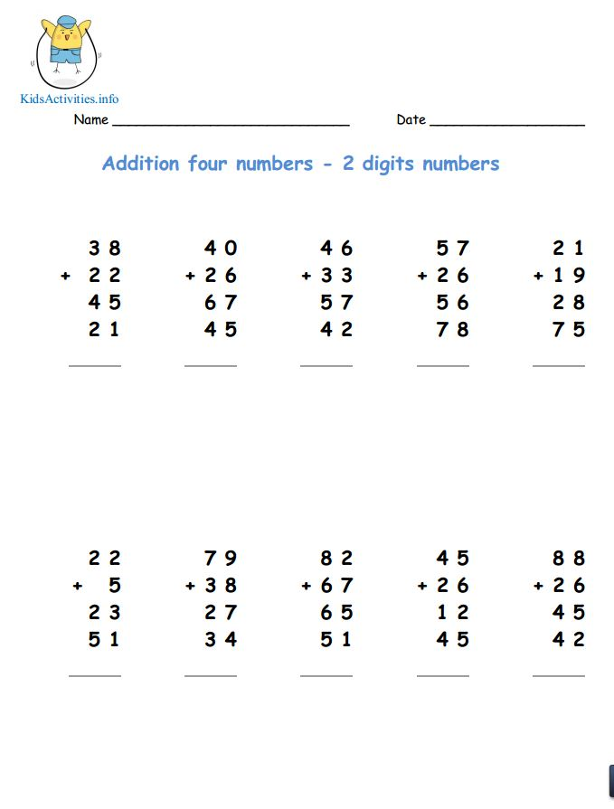 Adding Two Digit Numbers 3rd Grade – Adding 2 Digit Numbers Worksheets