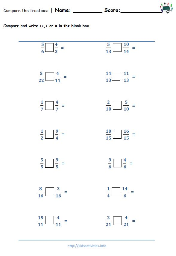 Fraction Worksheets 5th Grade – Comparing Fractions with Unlike Denominators Worksheets