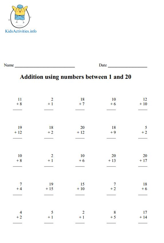Addition up to 20 Worksheets – Addition Worksheets Up to 20