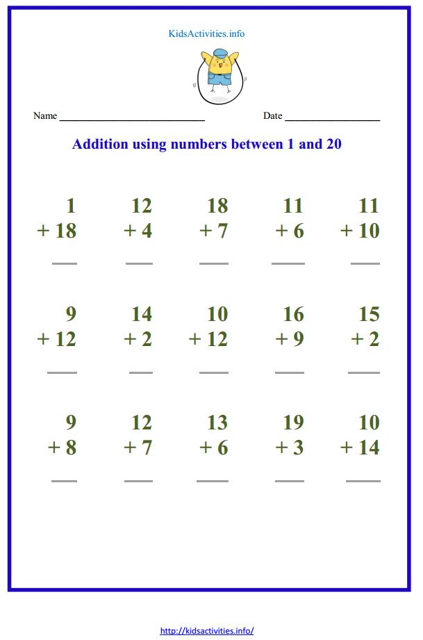 math worksheet : addition up to 20 worksheets  kids activities : Addition Worksheets Pdf