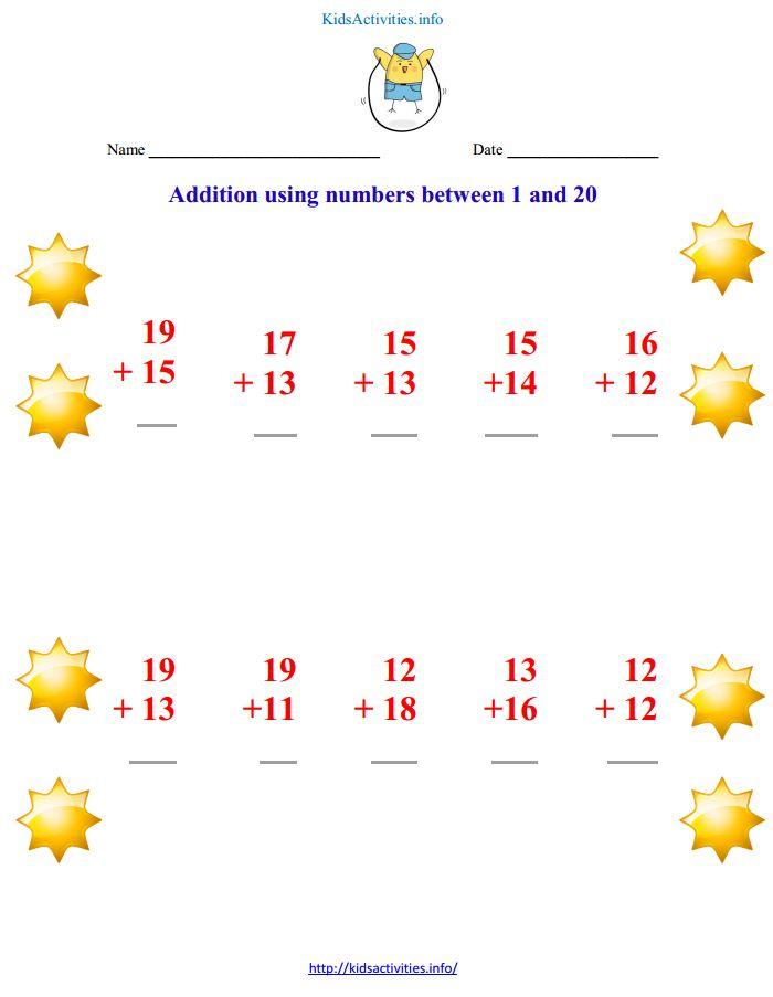 math worksheet : addition up to 20 worksheets  kids activities : Addition Worksheets Up To 20