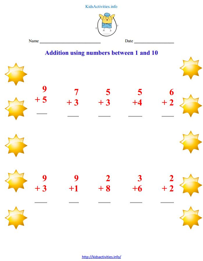 printable math worksheets for kindergarten addition | Kids Activities