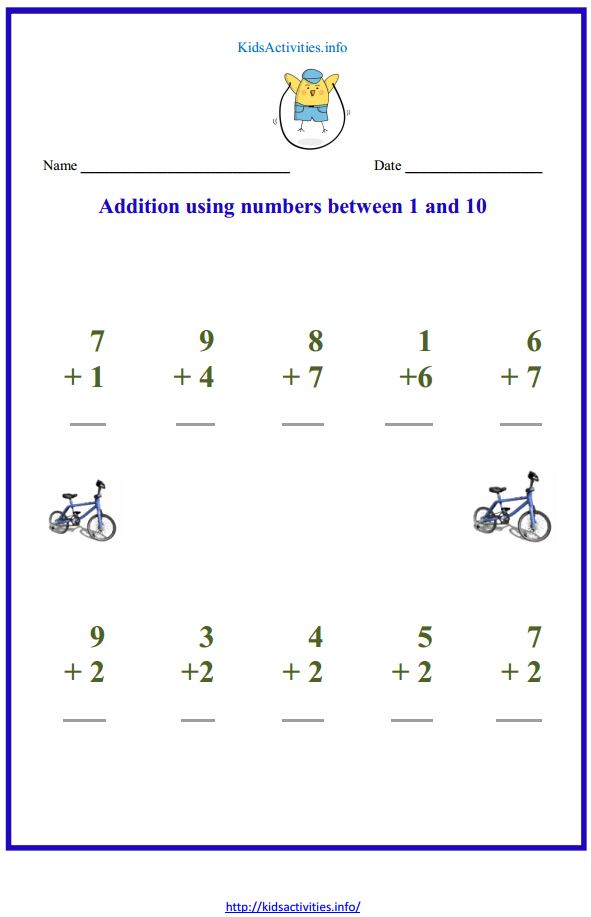 printable math worksheets for kindergarten addition and – Addition and Subtraction to 10 Worksheets