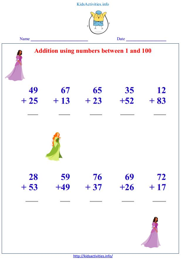 math worksheet : addition up to 100 worksheets with pictures  kids activities : Addition Worksheets Pdf