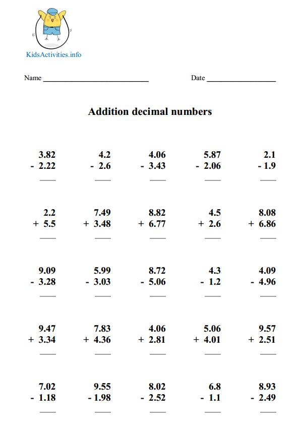 Addition And Subtraction With Decimals Scalien – Addition of Decimals Worksheets