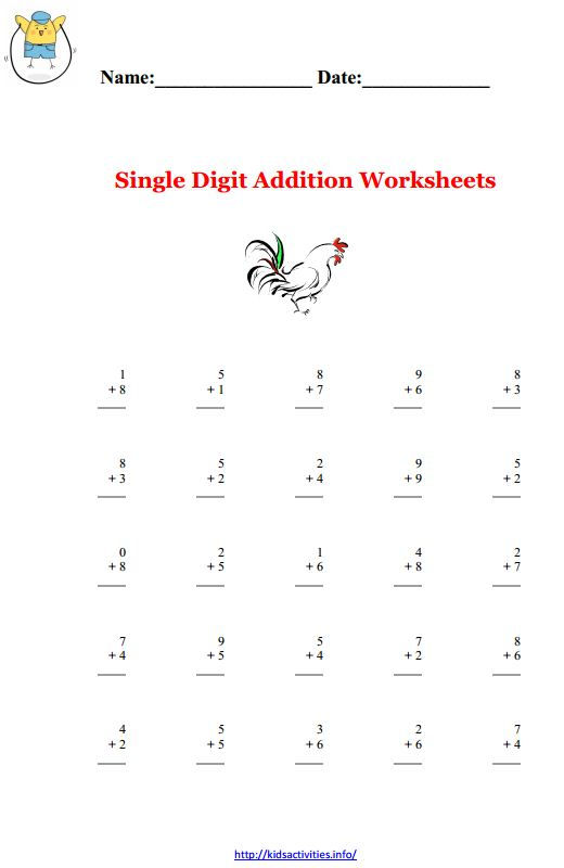 single digit addition and subtraction worksheets with pictures   single digit addition using numbers between  rooster