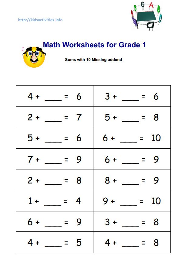 Printables First Grade Math Worksheets Pdf missing addend addition worksheets 2nd grade kids activities math for 1 sums with 10 pdf