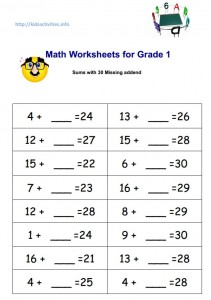 Printables Second Grade Math Worksheets Pdf missing addend addition worksheets 2nd grade kids activities math for 1 sums with 30 pdf