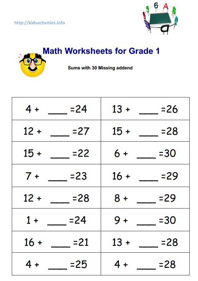 Printables First Grade Math Worksheets Pdf missing addend addition worksheets 2nd grade kids activities math for 1 sums with 30 pdf
