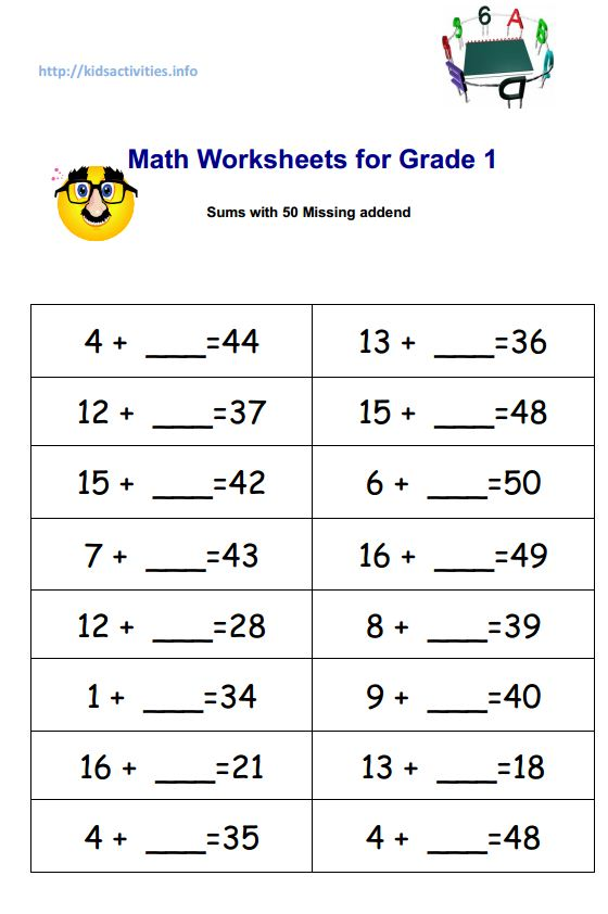 Worksheet Fourth Grade Math Worksheets Pdf missing addend addition worksheets 2nd grade kids activities math for 1 sums with 50 pdf