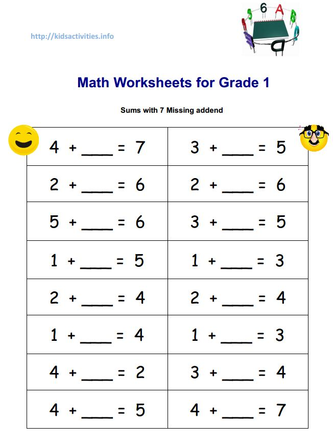 Printables 1st Grade Worksheets Pdf first grade worksheets pdf davezan missing addend addition 2nd kids activities