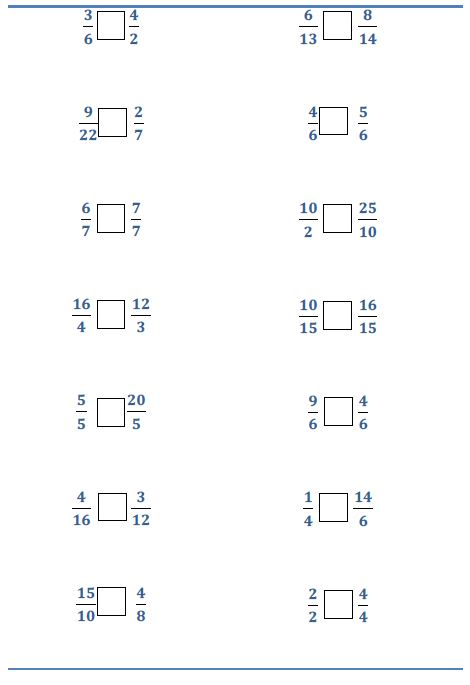 math worksheet : compare fractions small large or equal printable worksheet  : Comparing Ordering Fractions Worksheet