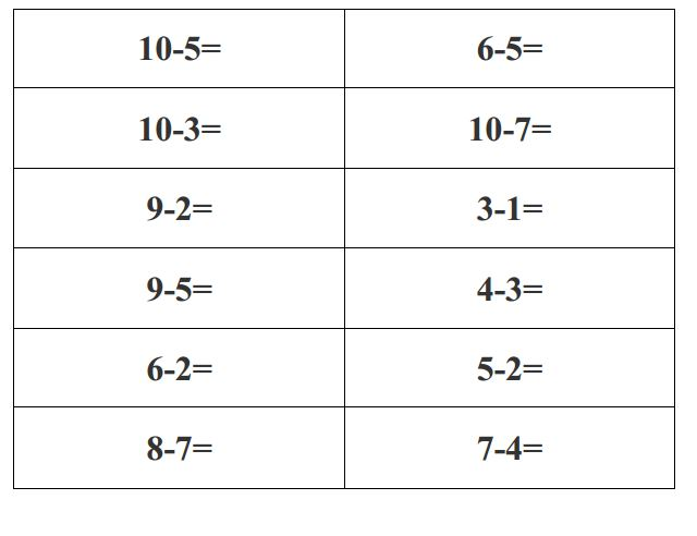 Math worksheets addition and subtraction very easy to print – Subtraction Within 10 Worksheets