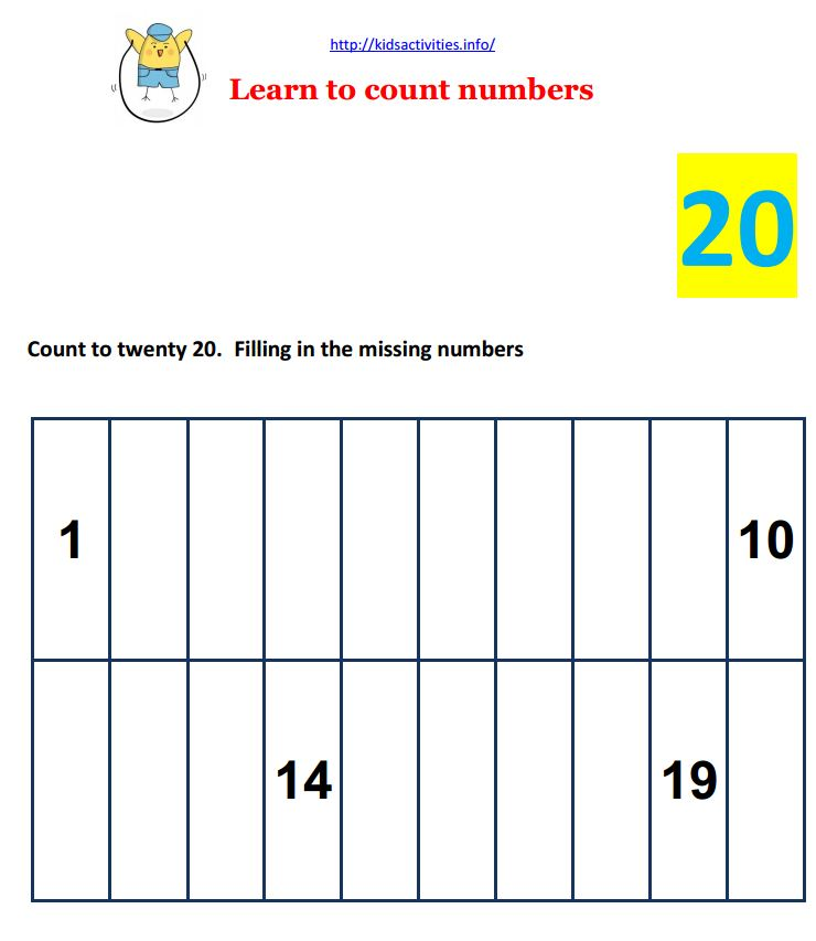 Printable Worksheets worksheets counting to 20 : Math Worksheets for Preschool | Kids Activities