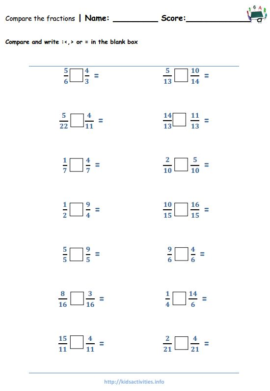 Number Names Worksheets comparing fractions worksheet with pictures : Fraction Worksheets 4th Grade | Kids Activities
