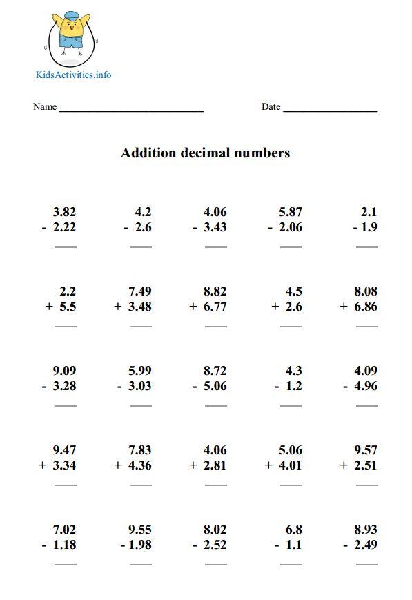 Decimal Worksheets Fifth Grade – Expanded Column Addition Worksheets